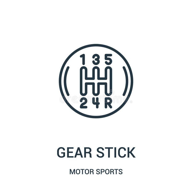 vector del icono del palillo de engranaje de la colección de los deportes de motor L?nea fina ejemplo del vector del icono del es stock de ilustración