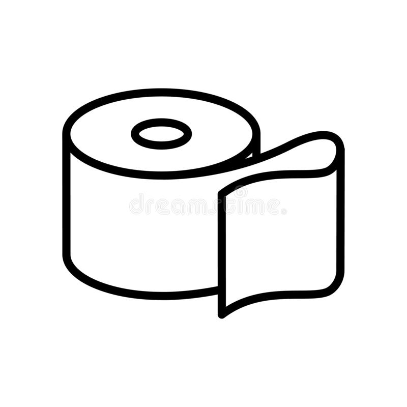 Vector del icono del papel higiénico aislado en la muestra blanca del fondo, del papel higiénico, la línea y elementos del esquem stock de ilustración