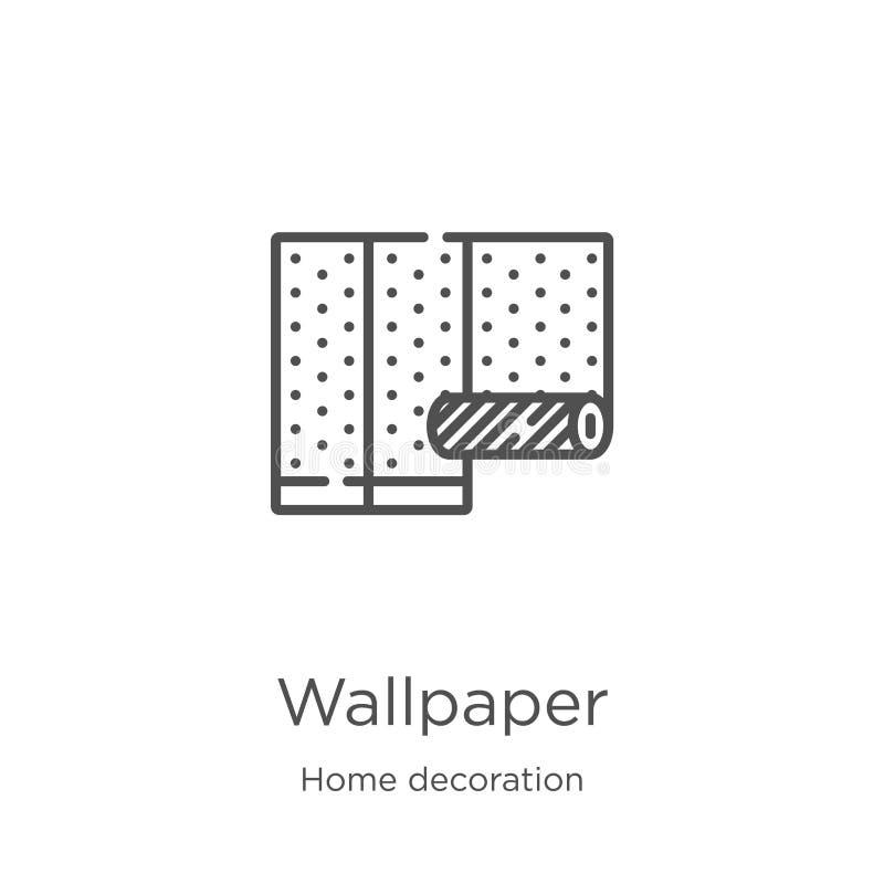 vector del icono del papel pintado de la colección casera de la decoración Línea fina ejemplo del vector del icono del esquema de stock de ilustración