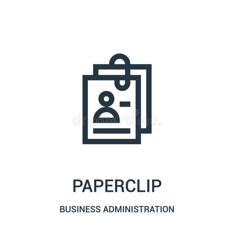 vector del icono del paperclip de la colección de la administración de empresas Línea fina ejemplo del vector del icono del esque stock de ilustración