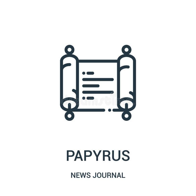 vector del icono del papiro de la colección del diario de las noticias Línea fina ejemplo del vector del icono del esquema del pa stock de ilustración
