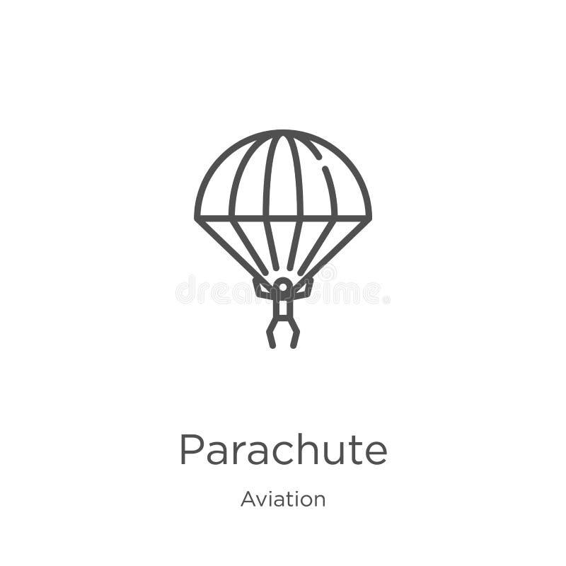 vector del icono del paraca?das de la colecci?n de la aviaci?n L?nea fina ejemplo del vector del icono del esquema del paraca?das stock de ilustración
