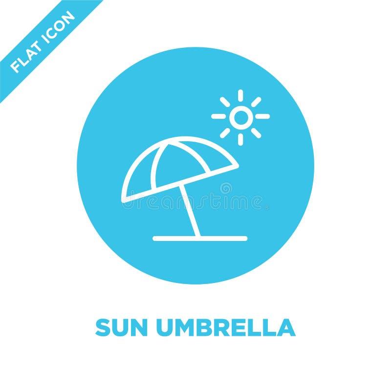 vector del icono del paraguas de sol de la colección de las estaciones Línea fina ejemplo del vector del icono del esquema del pa ilustración del vector