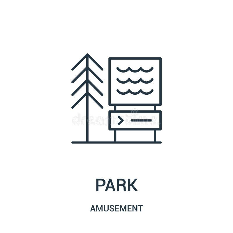 vector del icono del parque de la colección de la diversión L?nea fina ejemplo del vector del icono del esquema del parque libre illustration