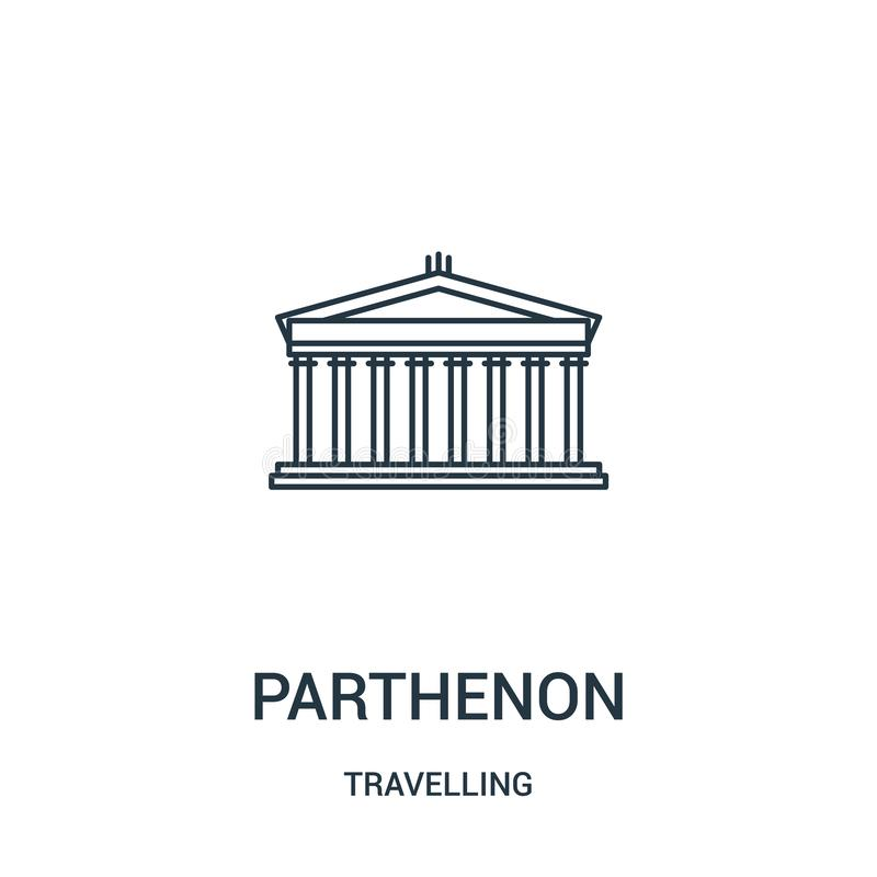 vector del icono del parthenon de la colección que viaja Línea fina ejemplo del vector del icono del esquema del parthenon S?mbol stock de ilustración