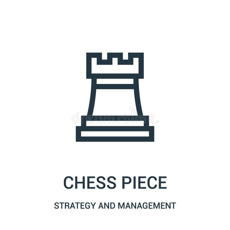 vector del icono del pedazo de ajedrez de la estrategia y de la colección de la gestión Línea fina ejemplo del vector del icono d libre illustration