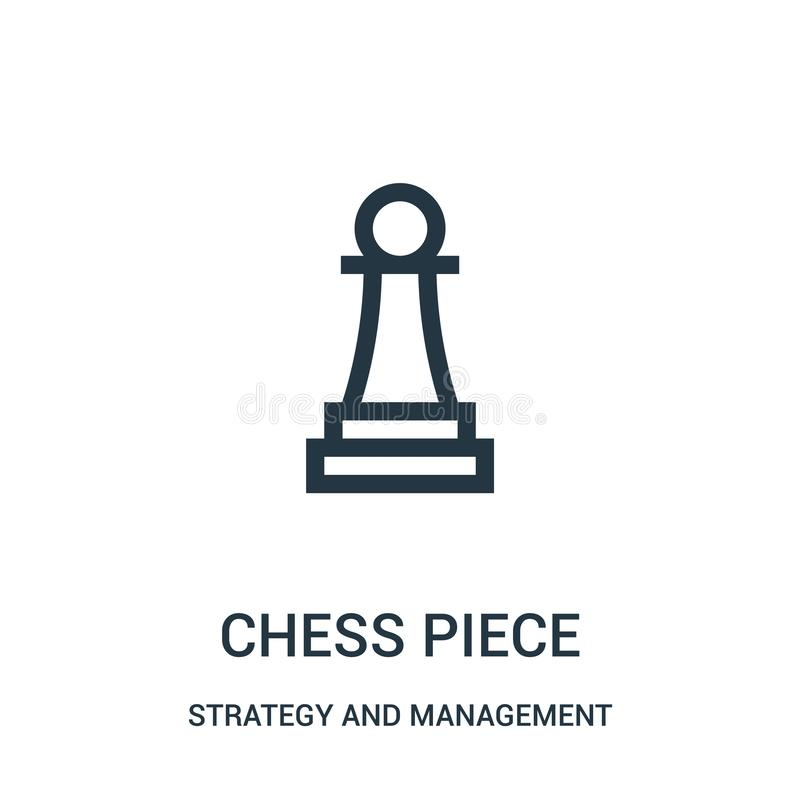vector del icono del pedazo de ajedrez de la estrategia y de la colecci?n de la gesti?n L?nea fina ejemplo del vector del icono d ilustración del vector