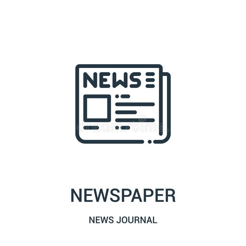 vector del icono del periódico de la colección del diario de las noticias Línea fina ejemplo del vector del icono del esquema del ilustración del vector