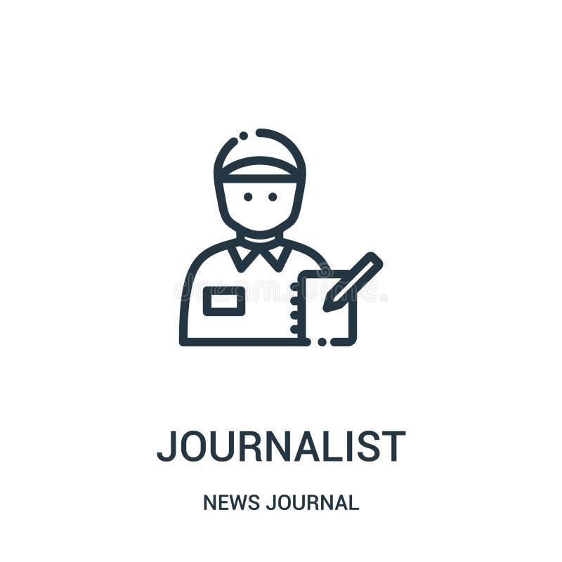 vector del icono del periodista de la colección del diario de las noticias Línea fina ejemplo del vector del icono del esquema de ilustración del vector