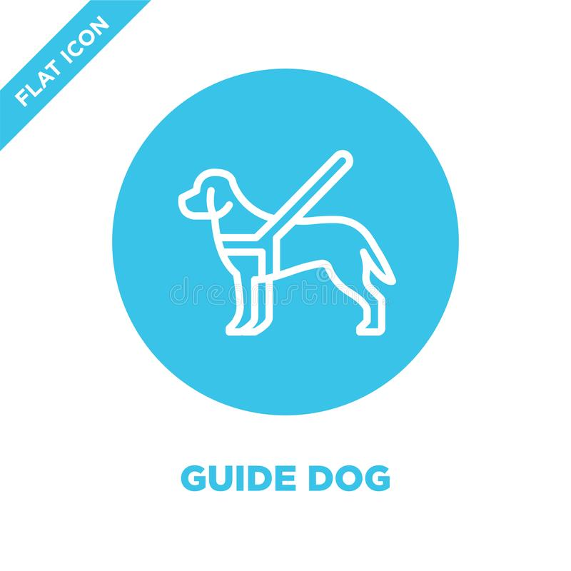 vector del icono del perro guía de la colección de la accesibilidad Línea fina ejemplo del vector del icono del esquema del perro stock de ilustración