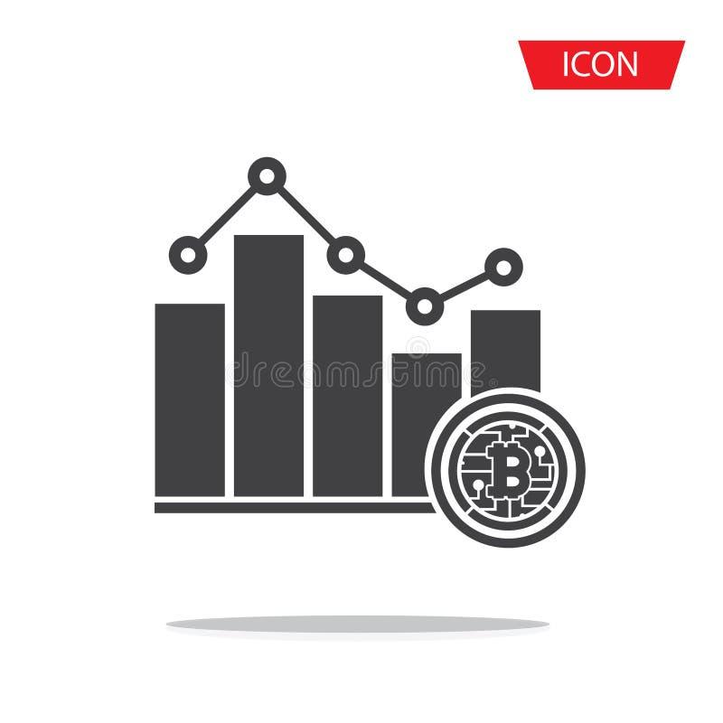 Vector del icono del pictograma de la tendencia de la carta de barra de Bitcoin stock de ilustración