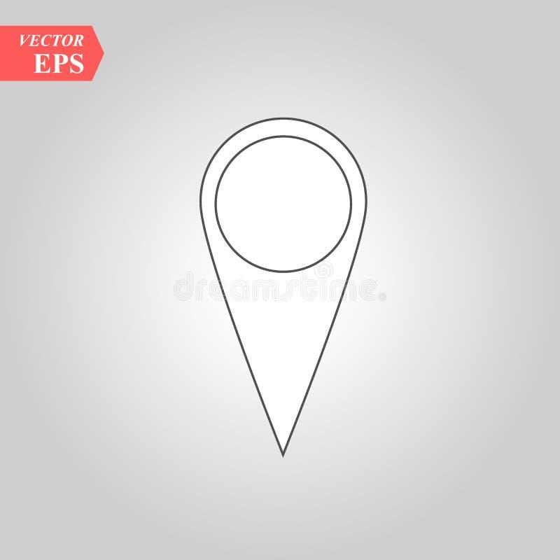 Vector del icono del Pin Muestra de la ubicación aislada en el fondo blanco Mapa de la navegación, gps, dirección, lugar, compás, stock de ilustración