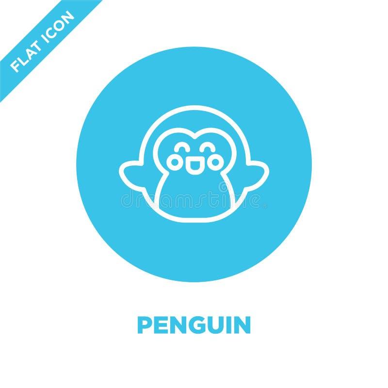 vector del icono del pingüino de la colección de las estaciones Línea fina ejemplo del vector del icono del esquema del pingüino  ilustración del vector