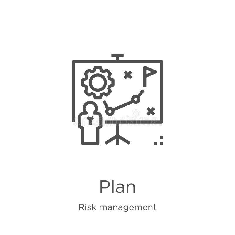 vector del icono del plan de la colección de la gestión de riesgos Línea fina ejemplo del vector del icono del esquema del plan E ilustración del vector