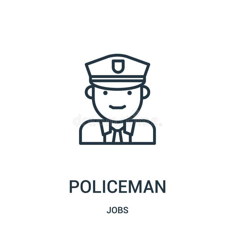 vector del icono del policía de la colección de los trabajos Línea fina ejemplo del vector del icono del esquema del policía S?mb libre illustration