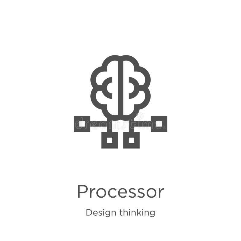 vector del icono del procesador de la colección de pensamiento del diseño L?nea fina ejemplo del vector del icono del esquema del stock de ilustración