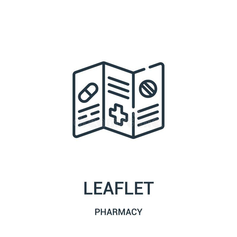 vector del icono del prospecto de la colección de la farmacia Línea fina ejemplo del vector del icono del esquema del prospecto stock de ilustración