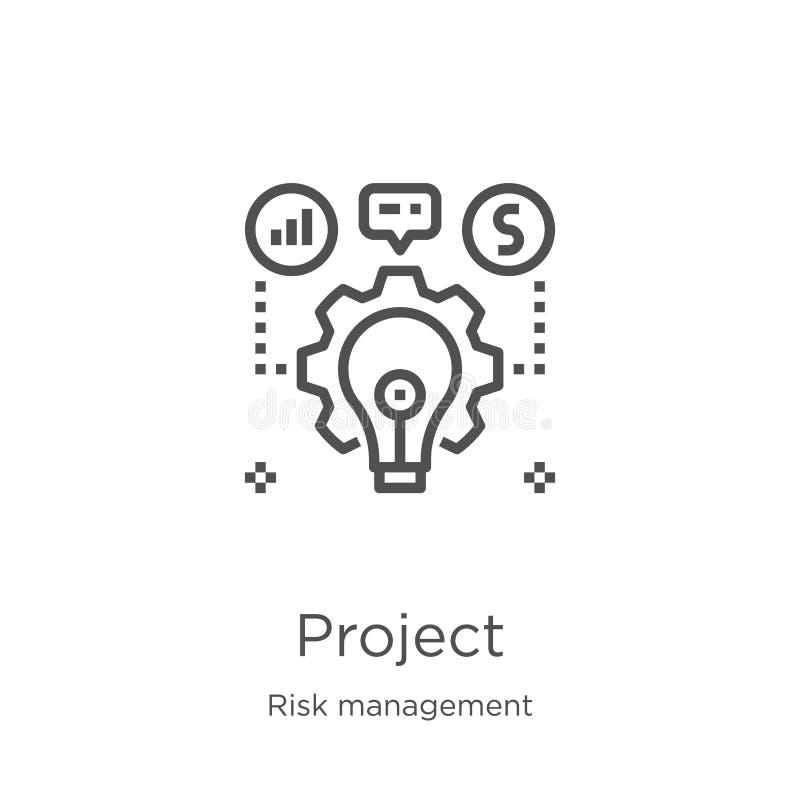 vector del icono del proyecto de la colección de la gestión de riesgos Línea fina ejemplo del vector del icono del esquema del pr ilustración del vector