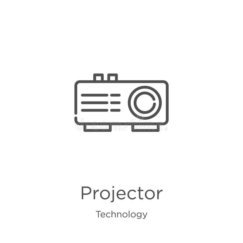 vector del icono del proyector de la colección de la tecnología L?nea fina ejemplo del vector del icono del esquema del proyector ilustración del vector