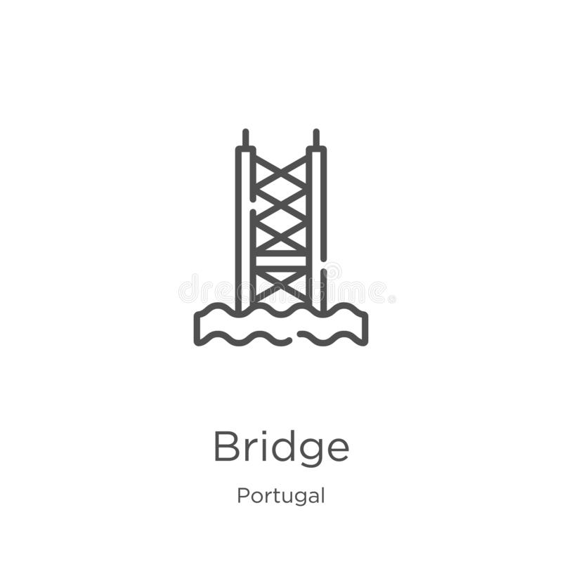 vector del icono del puente de la colección de Portugal L?nea fina ejemplo del vector del icono del esquema del puente Esquema, l stock de ilustración