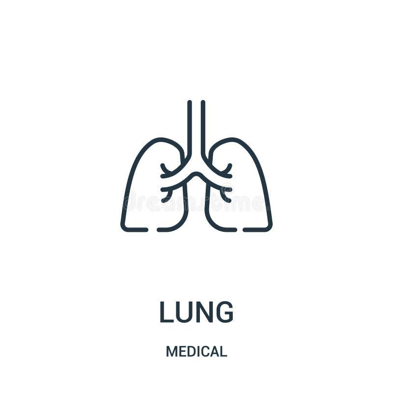 vector del icono del pulmón de la colección médica Línea fina ejemplo del vector del icono del esquema del pulmón ilustración del vector