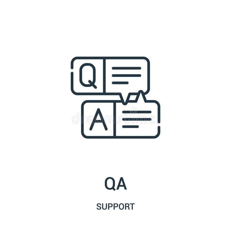 vector del icono del qa de la colección de la ayuda Línea fina ejemplo del vector del icono del esquema del qa Símbolo linear par stock de ilustración