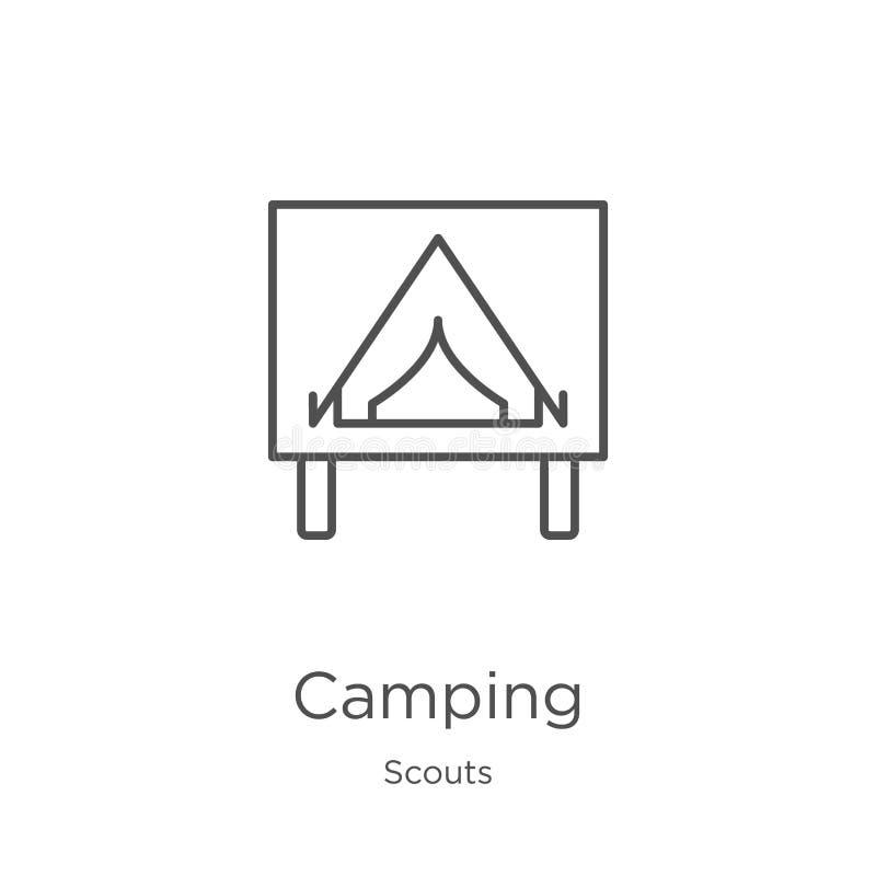 vector del icono que acampa de la colección de los exploradores Línea fina ejemplo del vector del icono del esquema que acampa Es ilustración del vector
