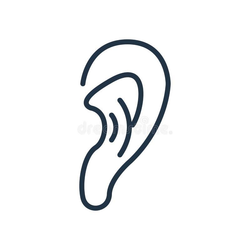 Vector del icono que escucha aislado en el fondo blanco, muestra que escucha stock de ilustración