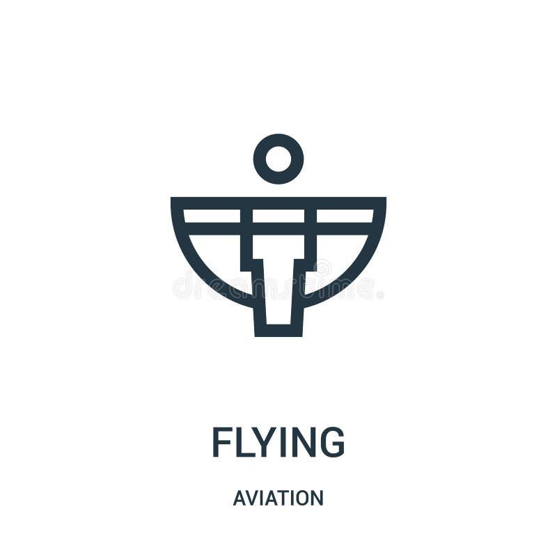 vector del icono que vuela de la colección de la aviación Línea fina ejemplo del vector del icono del esquema del vuelo Símbolo l stock de ilustración