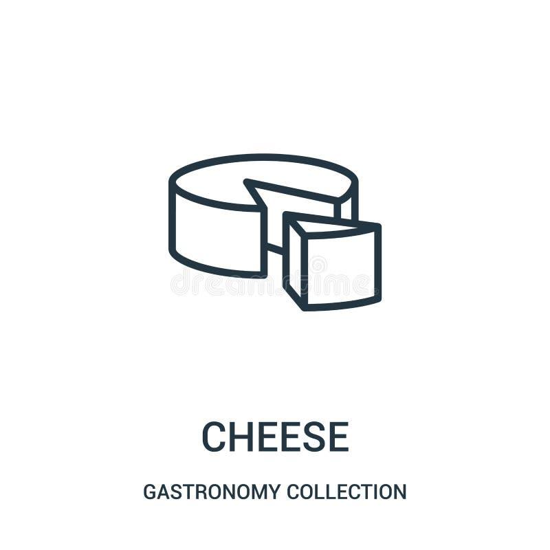 vector del icono del queso de la colección de la colección de la gastronomía Línea fina ejemplo del vector del icono del esquema  ilustración del vector