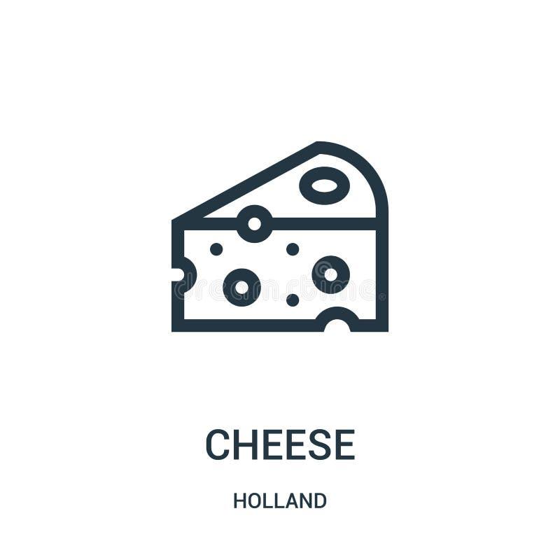 vector del icono del queso de la colección de Holanda Línea fina ejemplo del vector del icono del esquema del queso Símbolo linea stock de ilustración