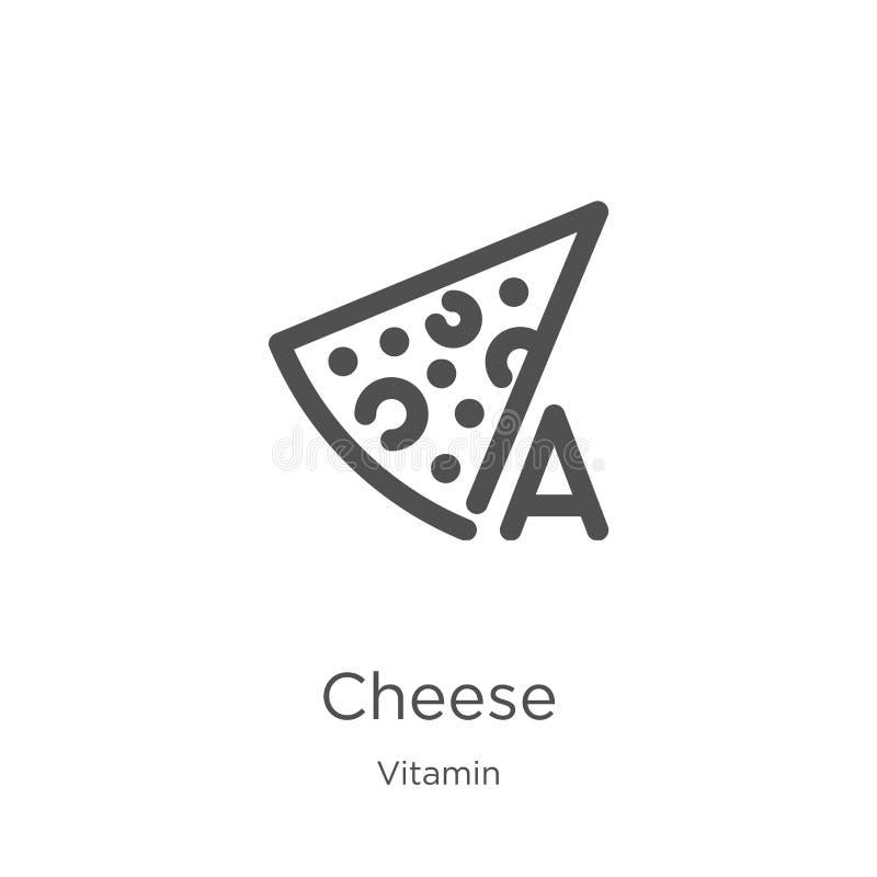 vector del icono del queso de la colección de la vitamina L?nea fina ejemplo del vector del icono del esquema del queso Esquema,  ilustración del vector