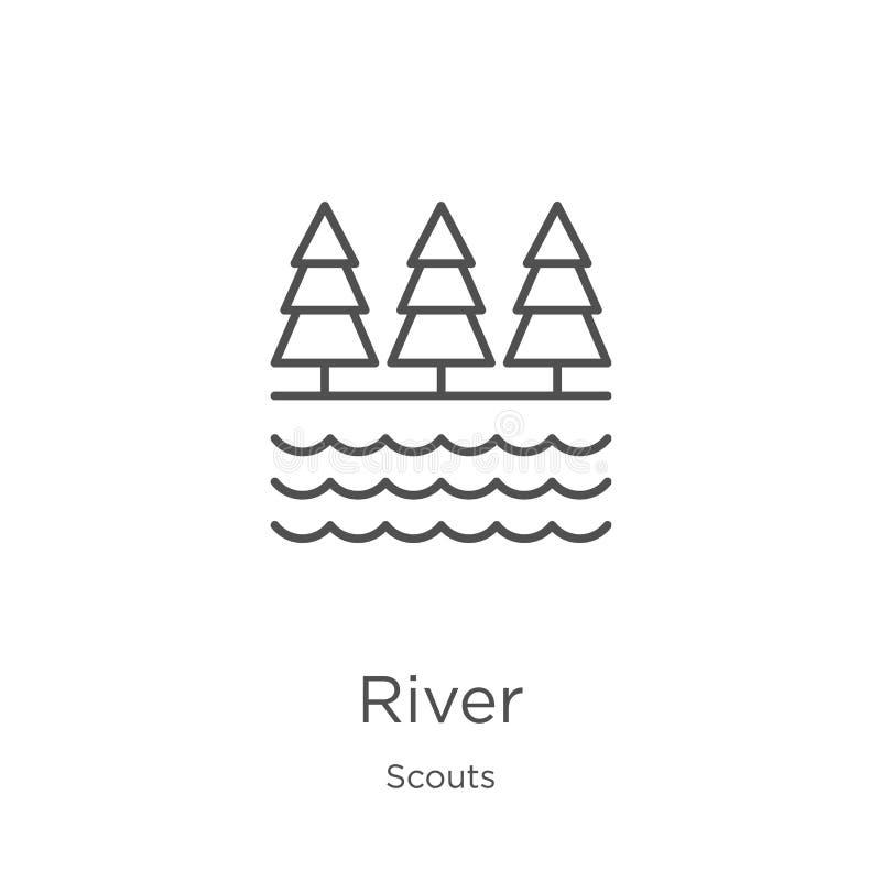 vector del icono del río de la colección de los exploradores Línea fina ejemplo del vector del icono del esquema del río Esquema, libre illustration