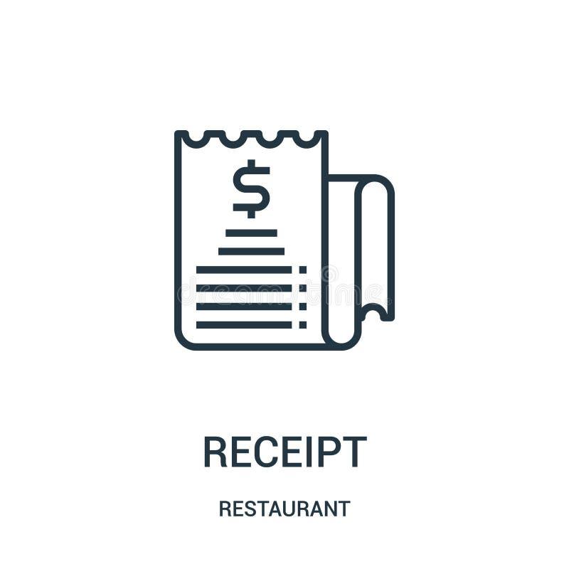 vector del icono del recibo de la colección del restaurante Línea fina ejemplo del vector del icono del esquema del recibo stock de ilustración