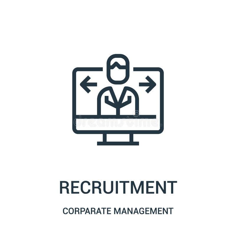vector del icono del reclutamiento de la colección de la gestión corporativa Línea fina ejemplo del vector del icono del esquema  ilustración del vector