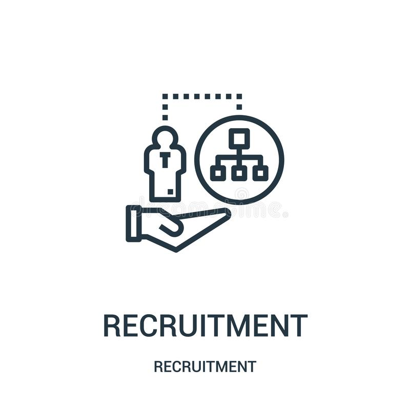 vector del icono del reclutamiento de la colección del reclutamiento L?nea fina ejemplo del vector del icono del esquema del recl ilustración del vector