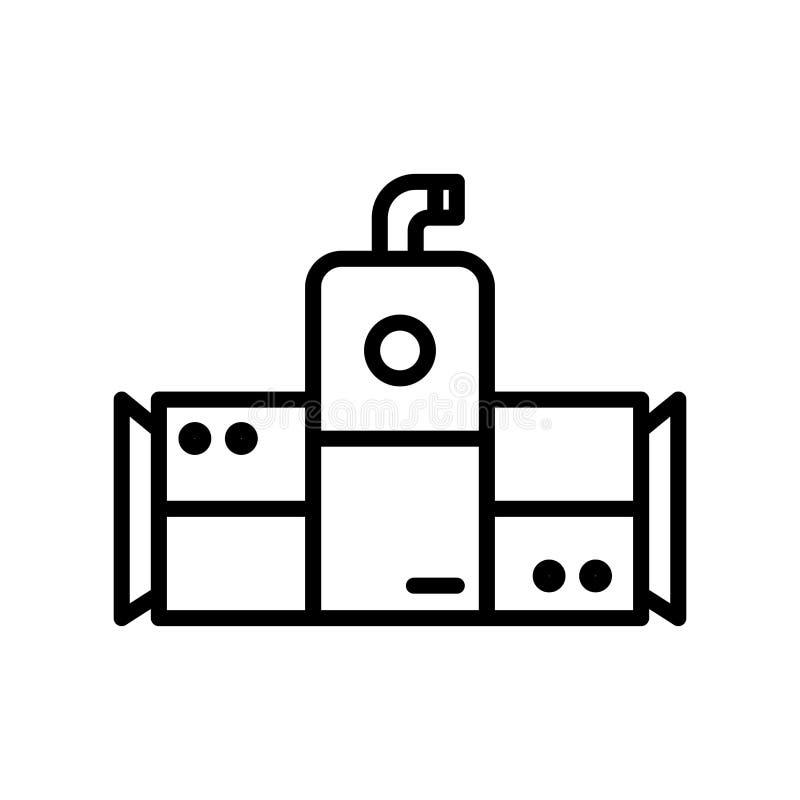 Vector del icono del refrigerador aislado en el fondo blanco, elementos más desapasibles de la muestra, de la línea y del esquema libre illustration