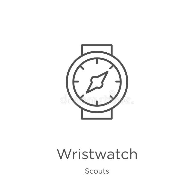 vector del icono del reloj de la colección de los exploradores Línea fina ejemplo del vector del icono del esquema del reloj Esqu stock de ilustración