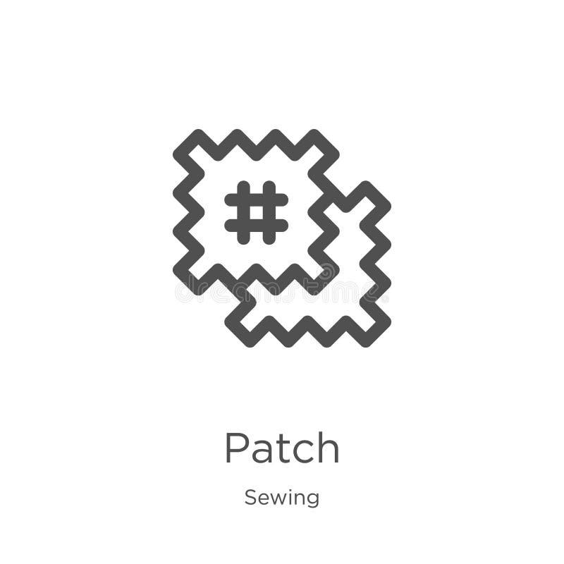 vector del icono del remiendo de la colección de costura Línea fina ejemplo del vector del icono del esquema del remiendo Esquema stock de ilustración