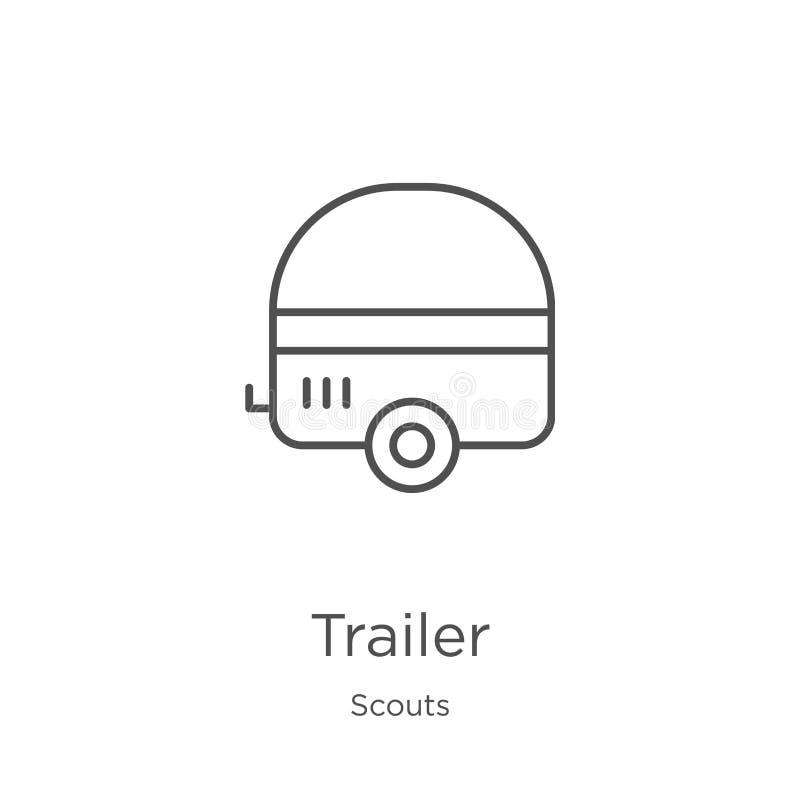 vector del icono del remolque de la colección de los exploradores Línea fina ejemplo del vector del icono del esquema del remolqu libre illustration