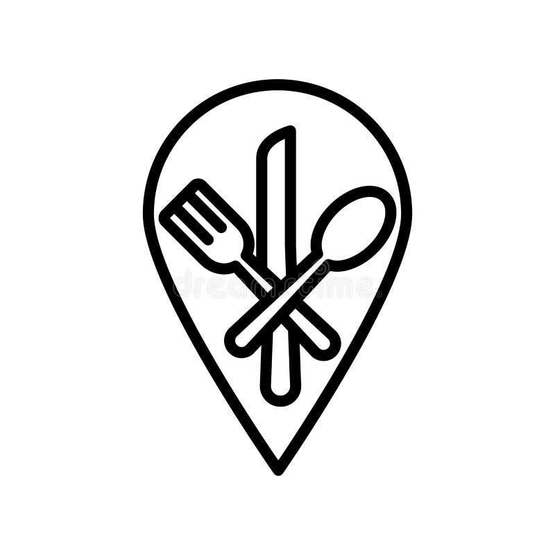 Vector del icono del restaurante aislado en el fondo, la muestra del restaurante, la línea y los elementos blancos del esquema en stock de ilustración