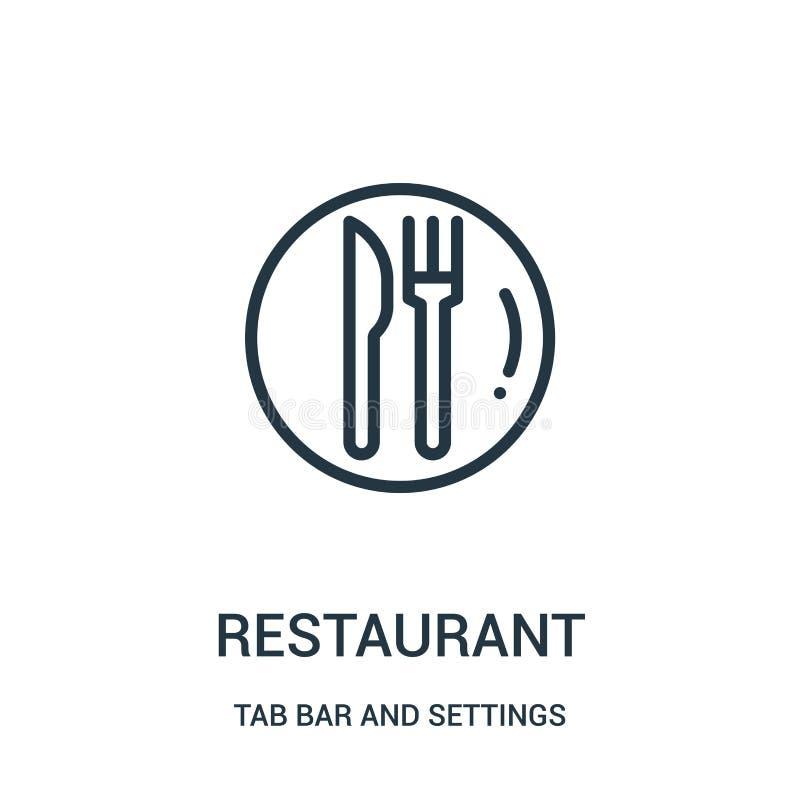 vector del icono del restaurante de la barra de la etiqueta y de la colección de los ajustes Línea fina ejemplo del vector del ic libre illustration