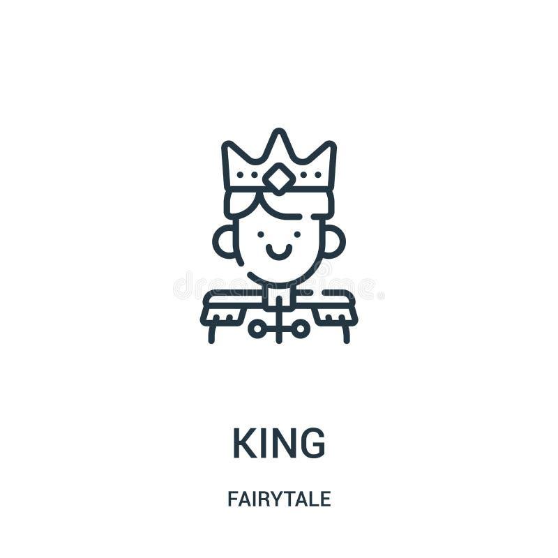 vector del icono del rey de la colecci?n del cuento de hadas L?nea fina ejemplo del vector del icono del esquema del rey libre illustration