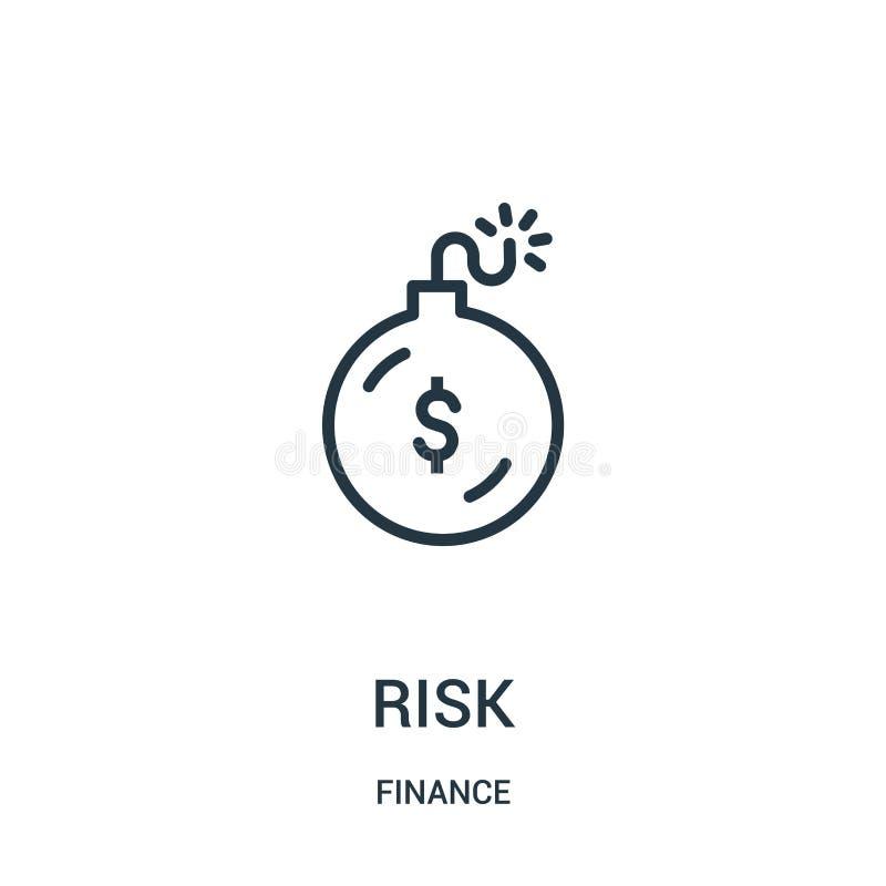 vector del icono del riesgo de la colección de las finanzas Línea fina ejemplo del vector del icono del esquema del riesgo Símbol ilustración del vector