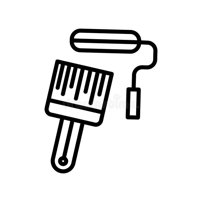 Vector del icono del rodillo de pintura aislado en la muestra blanca del fondo, del rodillo de pintura, la línea y elementos del  stock de ilustración