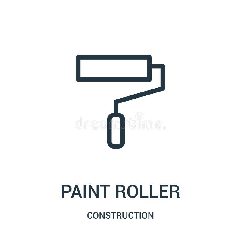 vector del icono del rodillo de pintura de la colección de la construcción Línea fina ejemplo del vector del icono del esquema de libre illustration
