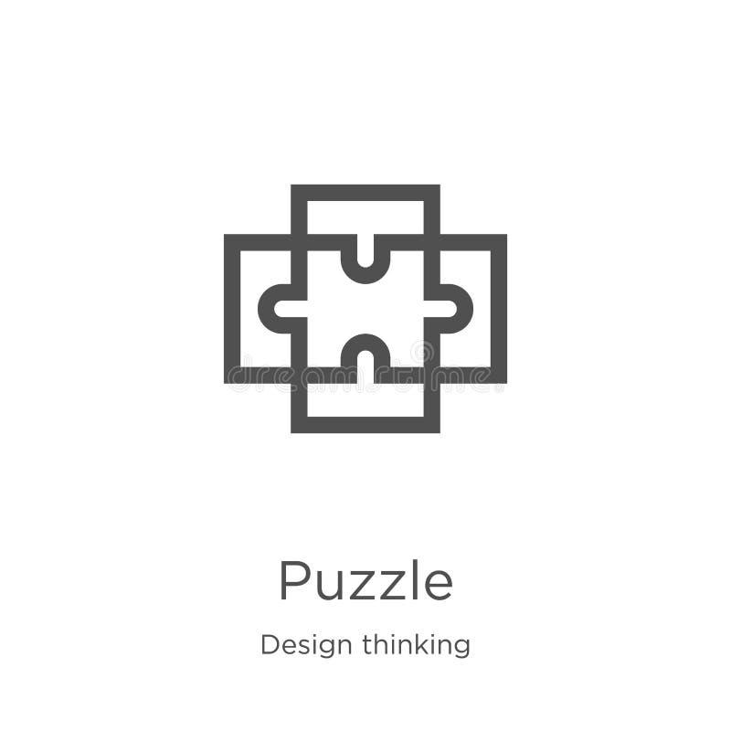 vector del icono del rompecabezas de la colección de pensamiento del diseño L?nea fina ejemplo del vector del icono del esquema d ilustración del vector