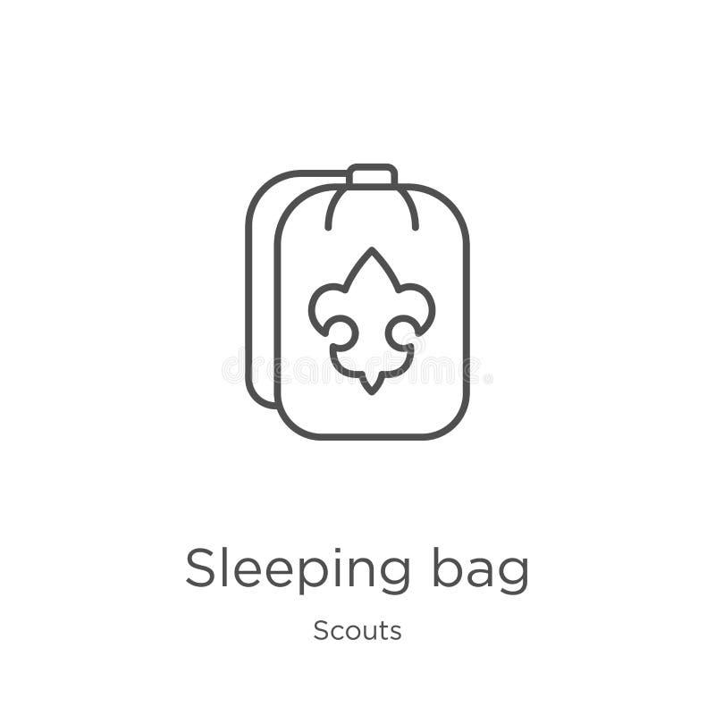 vector del icono del saco de dormir de la colecci?n de los exploradores L?nea fina ejemplo del vector del icono del esquema del s stock de ilustración