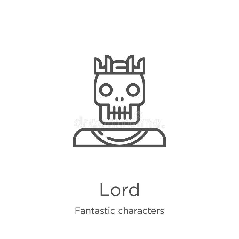 vector del icono del señor de la colección fantástica de los caracteres Línea fina ejemplo del vector del icono del esquema del s stock de ilustración