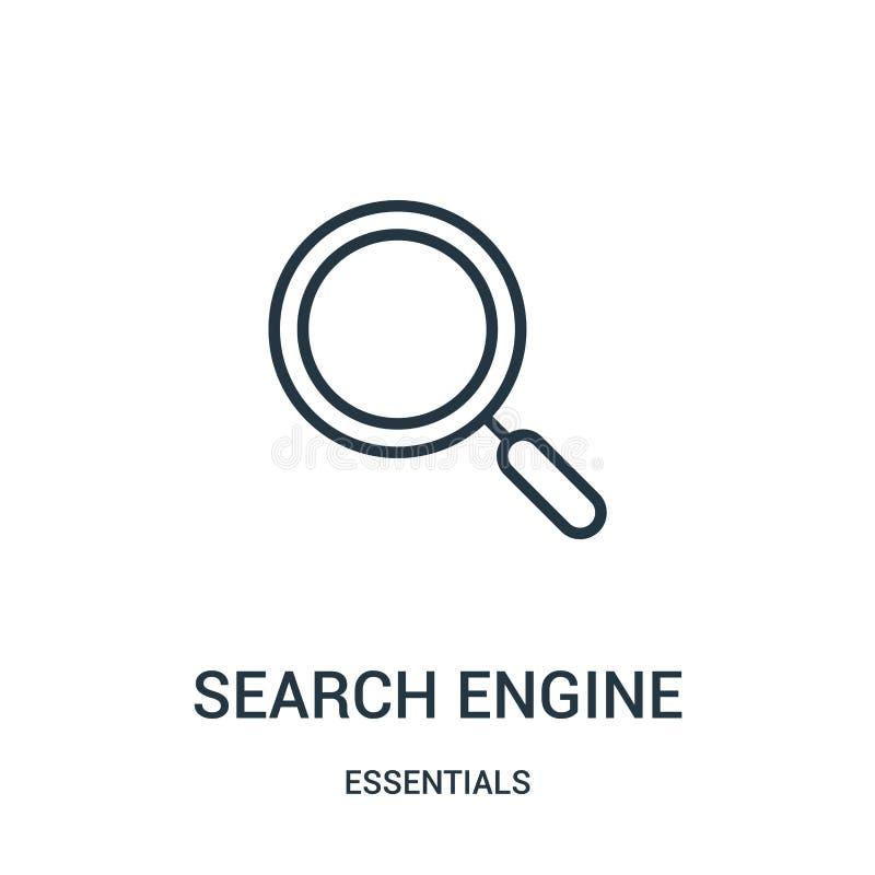 vector del icono del Search Engine de la colección del esencial Línea fina ejemplo del vector del icono del esquema del Search En ilustración del vector